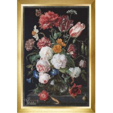 Stilleven met Bloemen in Glazen Vaas - Still Life with Flowers in a Glass Vase