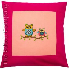Pillow 40 x 40cm Rose/Pink Counted X-Stitch