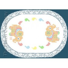 Colour print Doily 20 x 30 cm White Pre-stamped