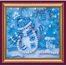 Bead Embroidery kit Snowman and Bunny