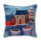 Kussenborduurpakket Haven met bootjes - Serene harbor  - Collection d'Art