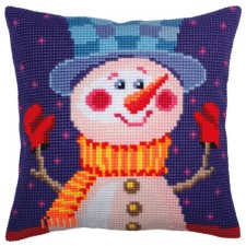 Cushion cross stitch kit Cheerful Snowman - Collection d'Art