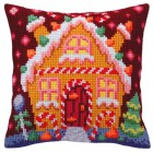 Cushion cross stitch kit Gingerbread Lodge - Collection d'Art