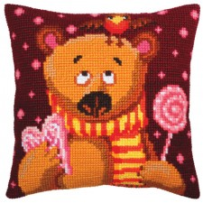 Cushion cross stitch kit Candy Teddy - Collection d'Art