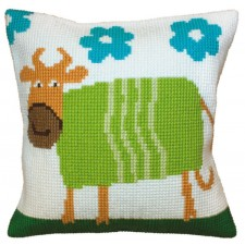 Cushion cross stitch kit Cheerful Cow - Collection d'Art