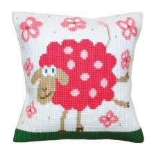 Cushion cross stitch kit Cheerful Lamb - Collection d'Art
