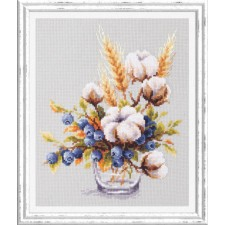 Borduurpakket Bloeiend katoen en bosbes - Blooming Cotton and Blueberry