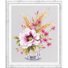Borduurpakket Klaproos en Korenbloemetjes - Poppy and Maiden Pinks