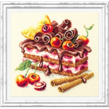 Borduurpakket Kersentaart - Cherry Cake