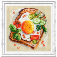 Borduurpakket Toast Gebakken Eieren - Fried Eggs Toast