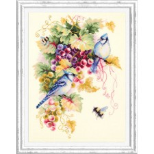 Borduurpakket Blauwe Gaai en Druiven - Blue Jay and Grapes - Chudo Igla