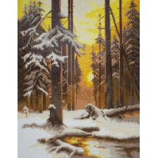 Diamond Painting Bos in avondlicht - Forest at Sunset