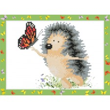Diamond Painting Egeltje met vlinder - Hedgehog with a Butterfly