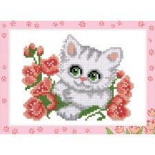 Diamond Painting Poesje met bloemen - Kitten with Flowers