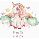Borduurpakket Geboortetegel Eenhoorn: Amelie - Unicorn