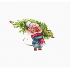 Cross stitch kit Mouse with fir tree - Luca-S