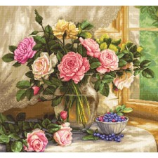 Cross stitch kit Still Life with Blueberries - Luca-S