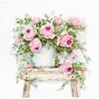 Borduurpakket Bloemen op een bankje - Flowers on a Stool