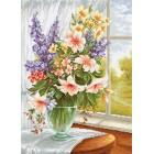 Borduurpakket Bloemen in de Vensterbank - Flowers at the Window