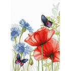 Cross stitch kit Poppies and Butterflies