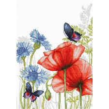 Cross stitch kit Poppies and Butterflies - Luca-S