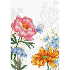Cross stitch kit Flowers and Butterfly - Luca-S