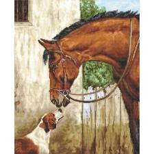 Petit Point borduurpakket Paard en foxhond - Hunter and Foxhound