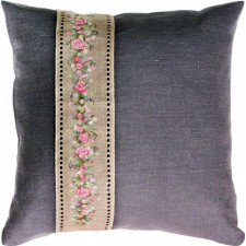 Pillow Rose Banner Grey
