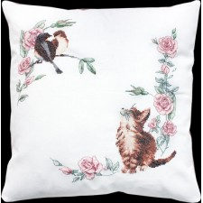 Borduukussen Kat en vogel - Cushion Cat & Bird