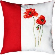 Borduurduurkussen klaprozen - Pillow Poppies