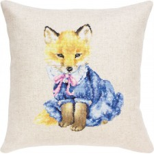 Cross stitch kit Kussen Vos met kleren -  Fox in Dress