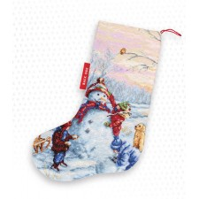 Cross stitch kit Christmas Stocking Snowman - Luca-S