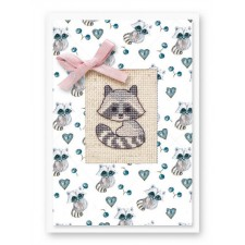 Borduurpakket Kaart Wasbeer - Postcard Raccoon