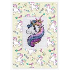 Cross stitch kit Kaart eenhoorn - Postcard Unicorn