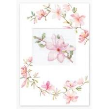 Borduurkaart Roze bloem - Postcard Pink Flower