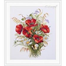 Borduurpakket Klaprozen en haver - Poppies and Oats