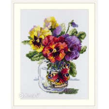 Cross stitch kit Pansies and Butterfly