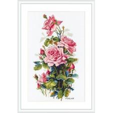 Cross stitch kit Pink Roses - Merejka