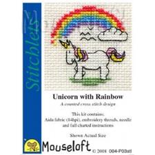 Borduurpakket Eenhoorn met regenboog - Unicorn with Rainbow