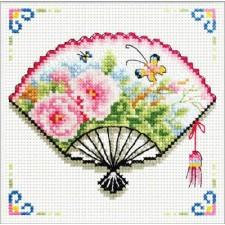 Voorbedrukt borduurpakket Rose Fan
