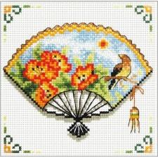 Voorbedrukt borduurpakket Nasturtium Fan