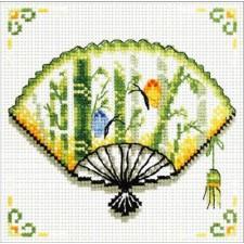 Voorbedrukt borduurpakket Bamboo Fan