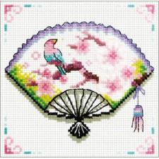 Voorbedrukt borduurpakket Cherry Blossom Fan