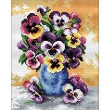 Voorbedrukt borduurpakket Vase of Pansies