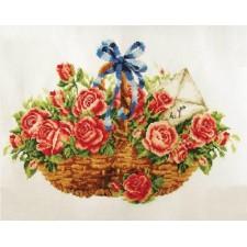 Voorbedrukt borduurpakket Basket of Roses