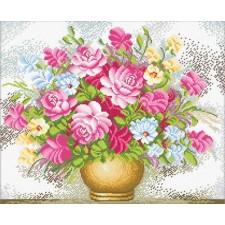 Voorbedrukt borduurpakket Vase of Flowers