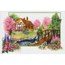 Voorbedrukt borduurpakket Spring Cottage