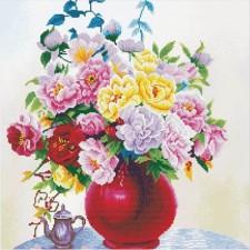 Voorbedrukt borduurpakket Cabbage Roses in a Vase
