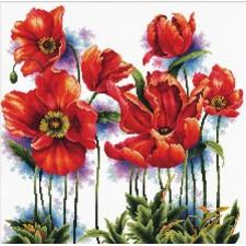 Voorbedrukt borduurpakket Lovely Poppies