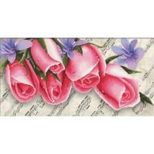 Voorbedrukt borduurpakket Pink Roses & Music
